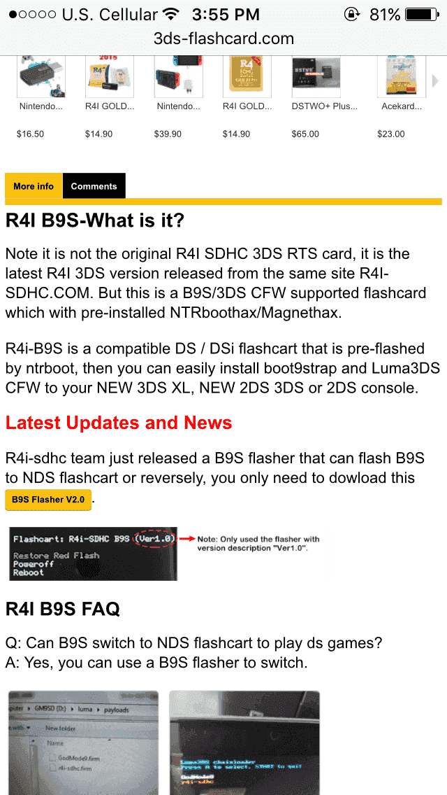Tried to buy R4 B9S flashcard for N2DS Xl from 3ds-flashcard com, is