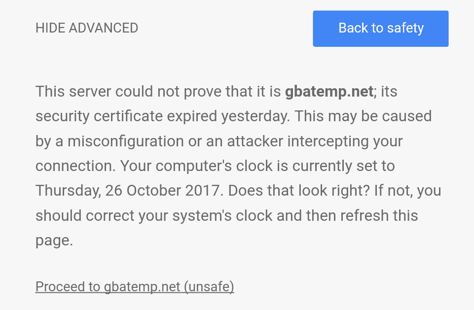 Boys The Security Certificate Is Dead Gbatemp The