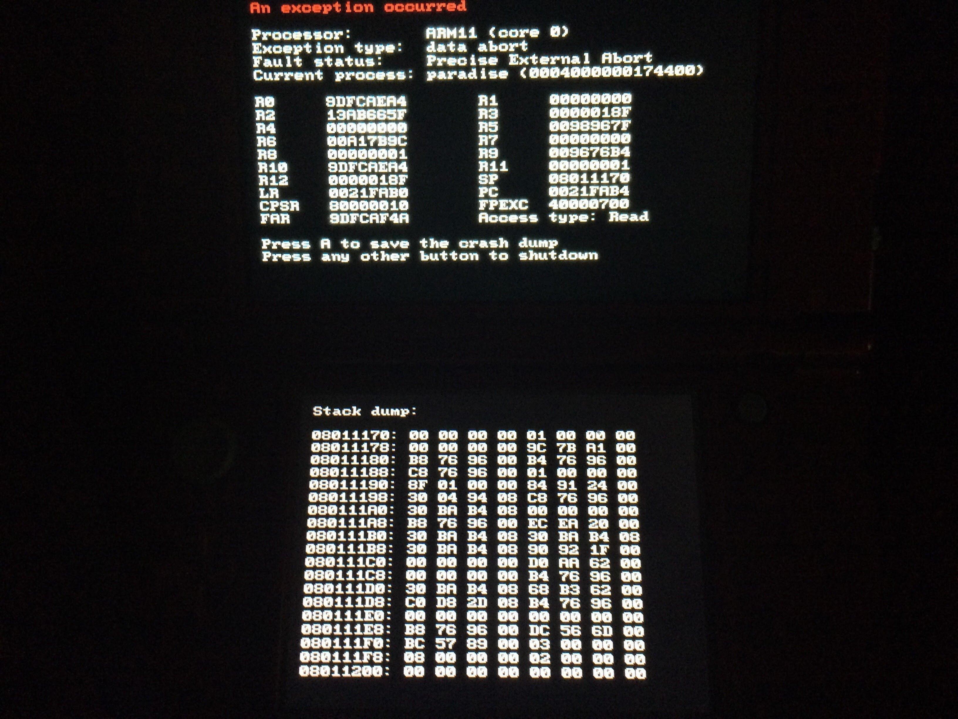 An error when luma3ds cheats are selected  | GBAtemp net