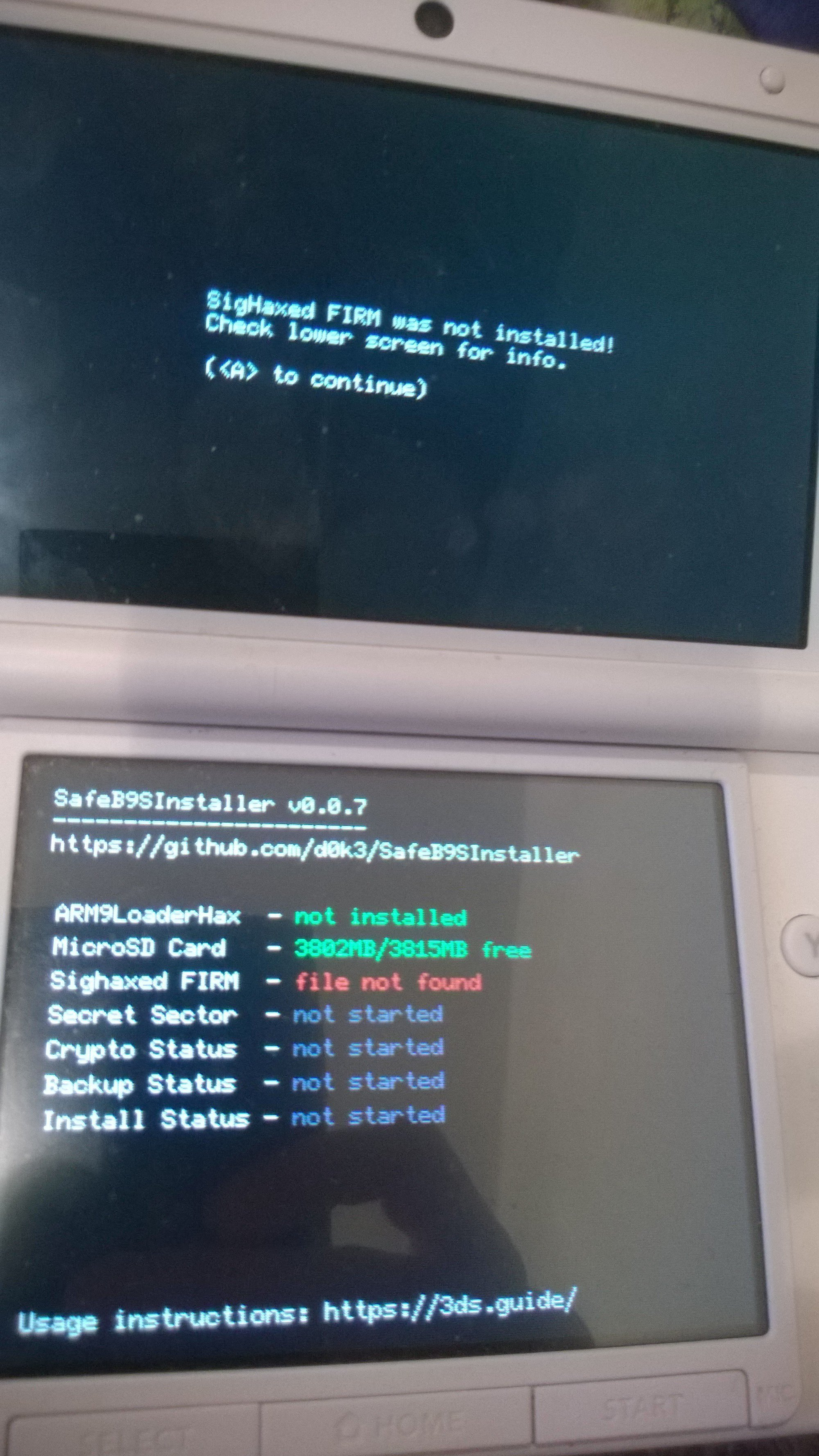 Recover a O3DS with Magnet, Flashcard, SigHax -> SysNAND